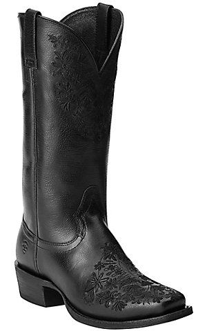 Ariat Women's Ardent Black with Floral Embroidery Punchy Square Toe Western Boots | Cavender's