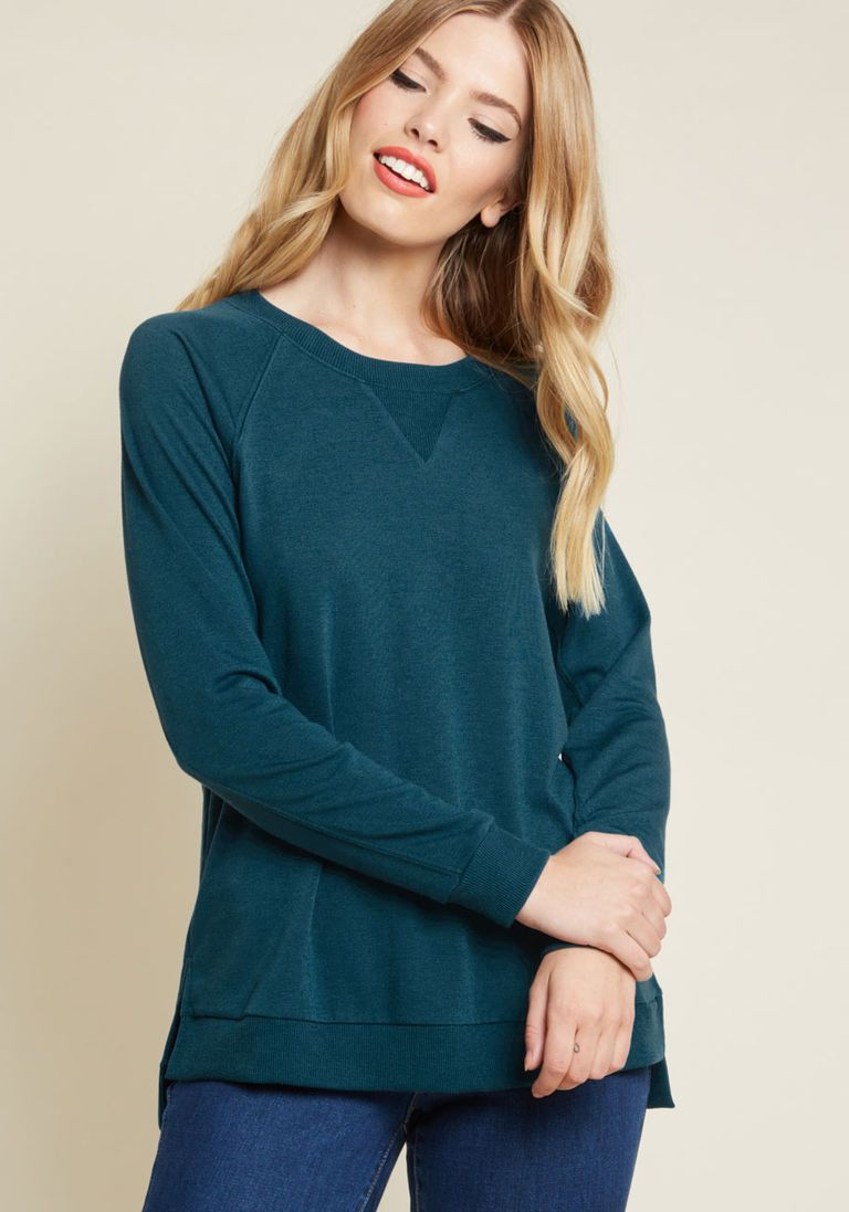 dfa76b5286e8 Believer of Leisure Knit Top in Teal in XL | Products | Tops, Long ...