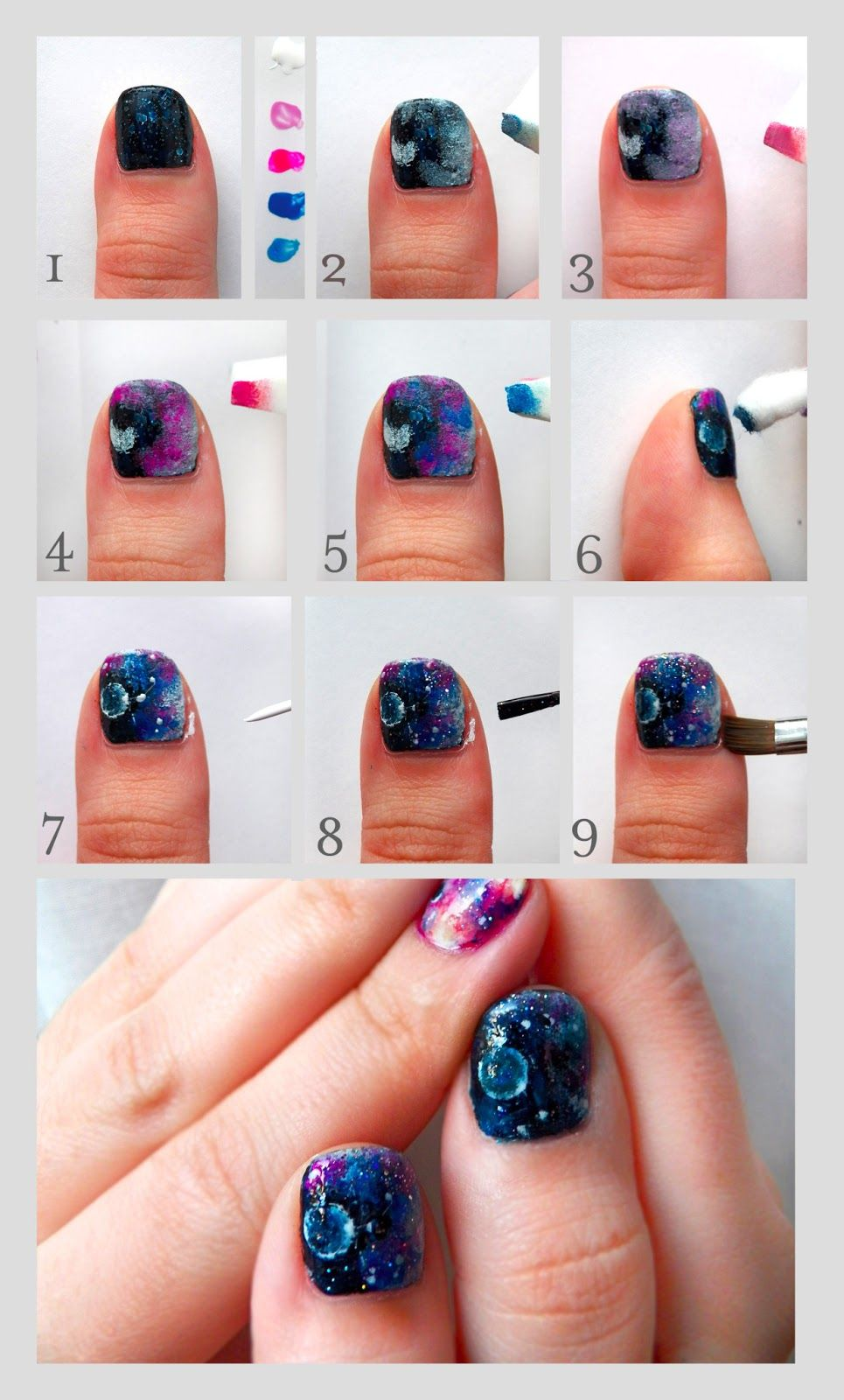 Pretty Squared Galaxy Nails Nail Art Tutorial Prettysquared Blo
