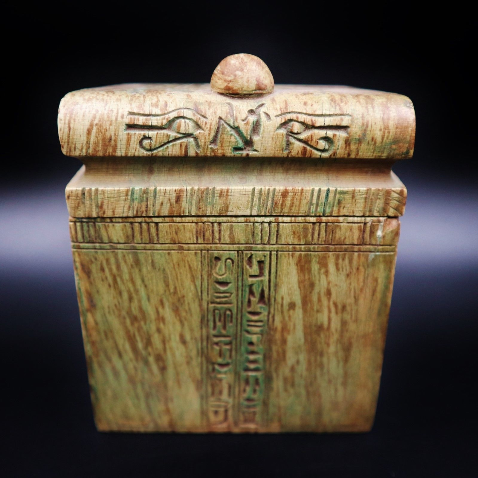 Rare Large Antique Egyptian Box Set Of 4 Canopic Jars