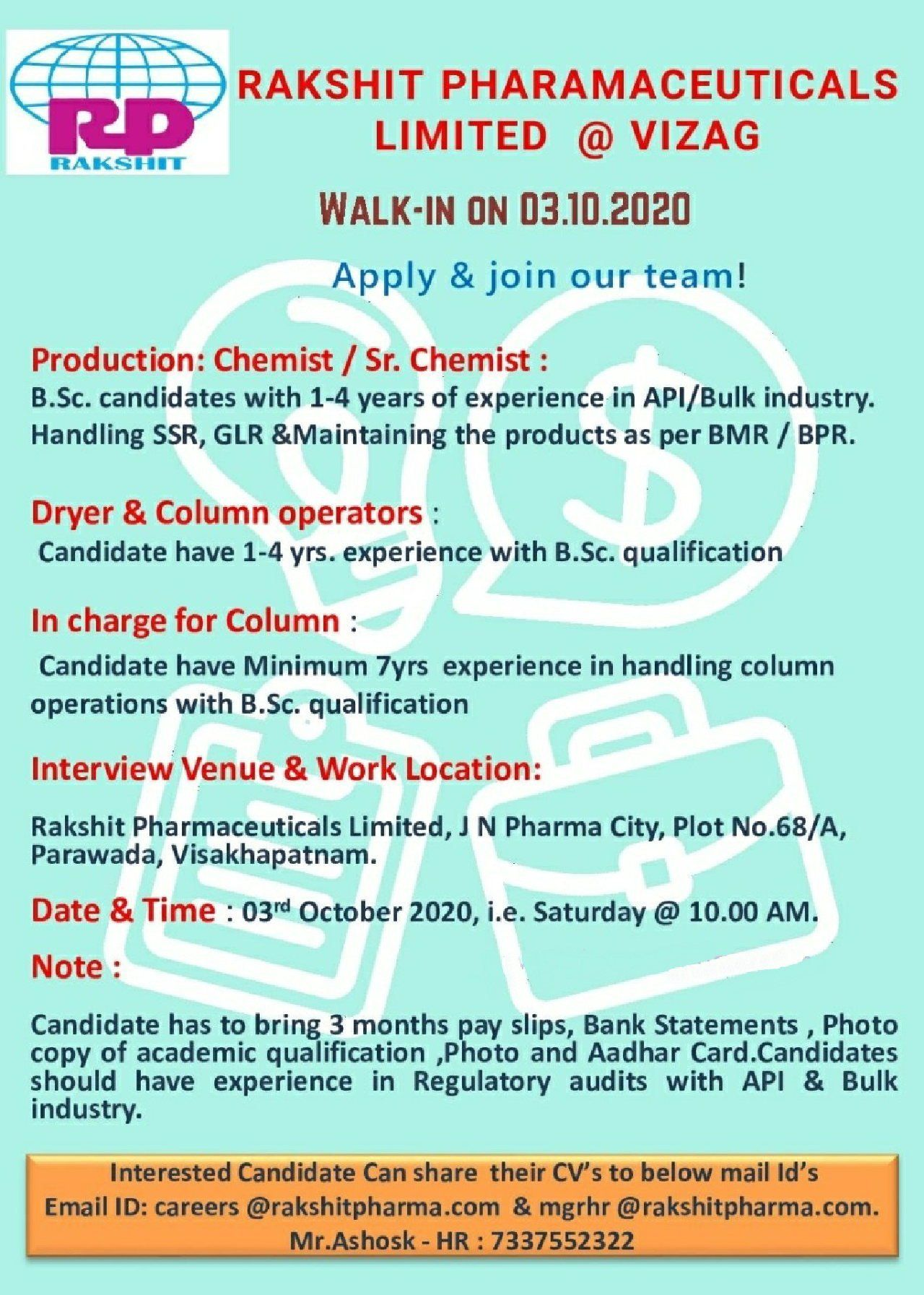 Walk In Drive For Multiple Positions In Production Department At Rakhit Pharmaceuticals On 3rd Oct 2020 Pharma Walks Late Pharmaceutical Positivity Pharma
