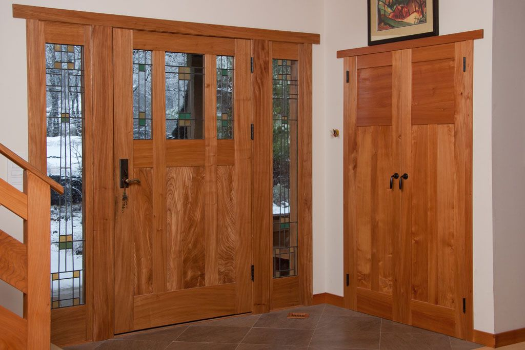 Green U0026 Green Inspired Red Elm Front Door And Monterey Cypress Closet Doors.  Striking
