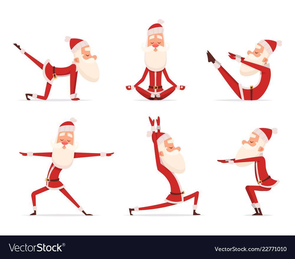 Santa yoga relax winter cute healthy christmas vector