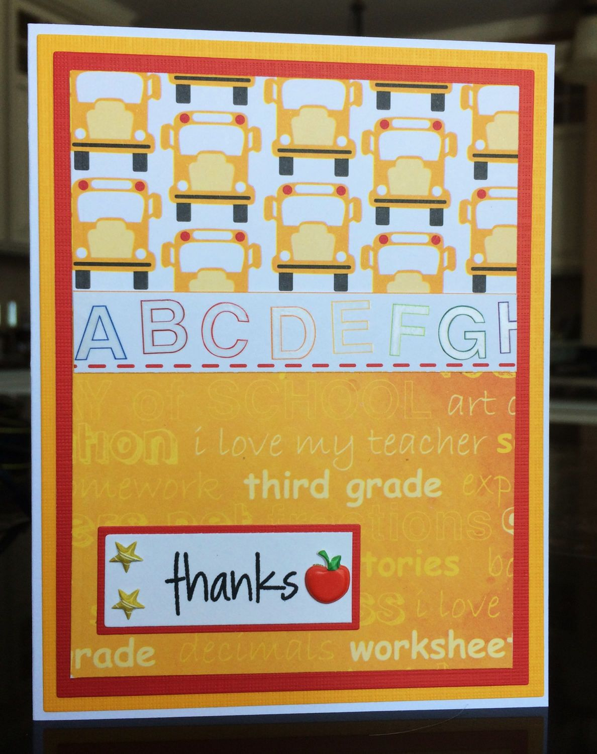 Handmade 3rd grade teacher or assistant teacher thank you note handmade grade teacher or assistant teacher thank you note handmade thanks greeting card school bus alphabet card red and yellow by treasureislandcards kristyandbryce Gallery