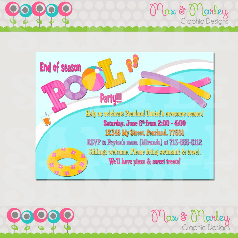 pool party invitation pool party birthday invitation team party