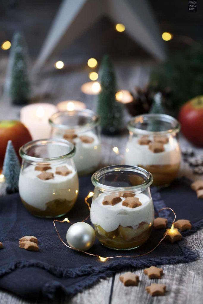 Weihnachtliches Bratapfel-Zimtcreme-Dessert im Glas #creamdesserts