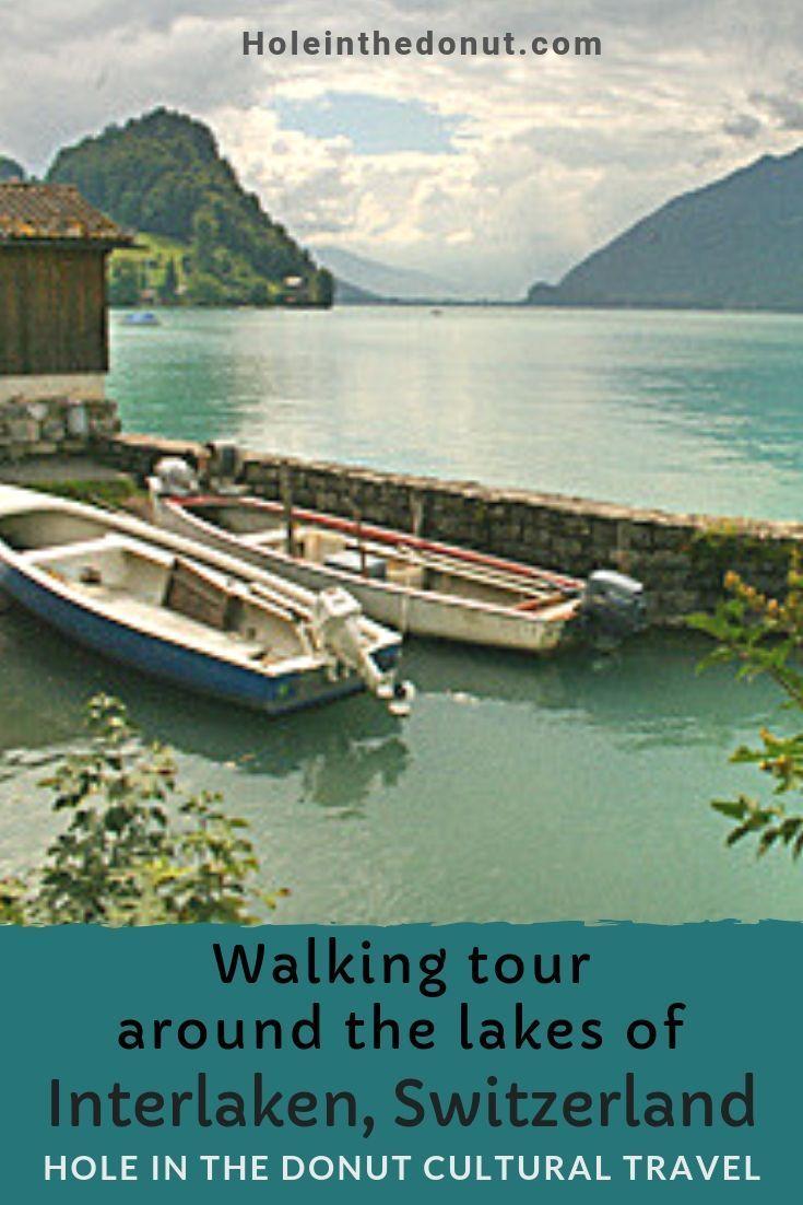 Walking tour around the lakes of Interlaken, Switzerland