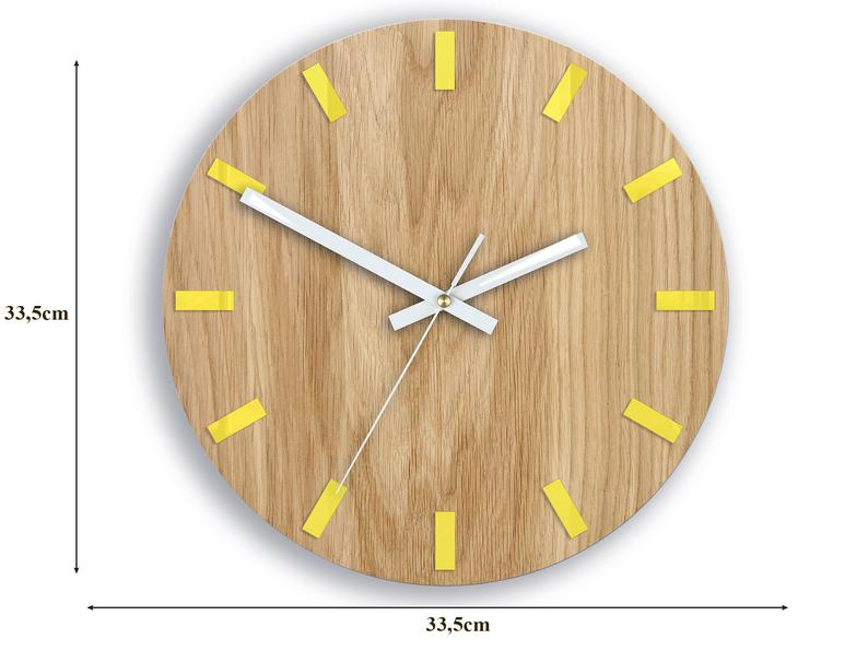 Wood Wall Clock Large Wall Clock Yellow Clock Gift Wall Decor Unique Wall Oak Clocks In 2020 Wood Wall Clock Large Wall Clock Wall Clock