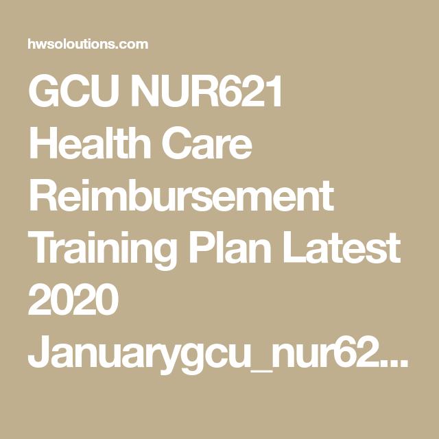 Gcu Nur621 Health Care Reimbursement Training Plan Latest 2020