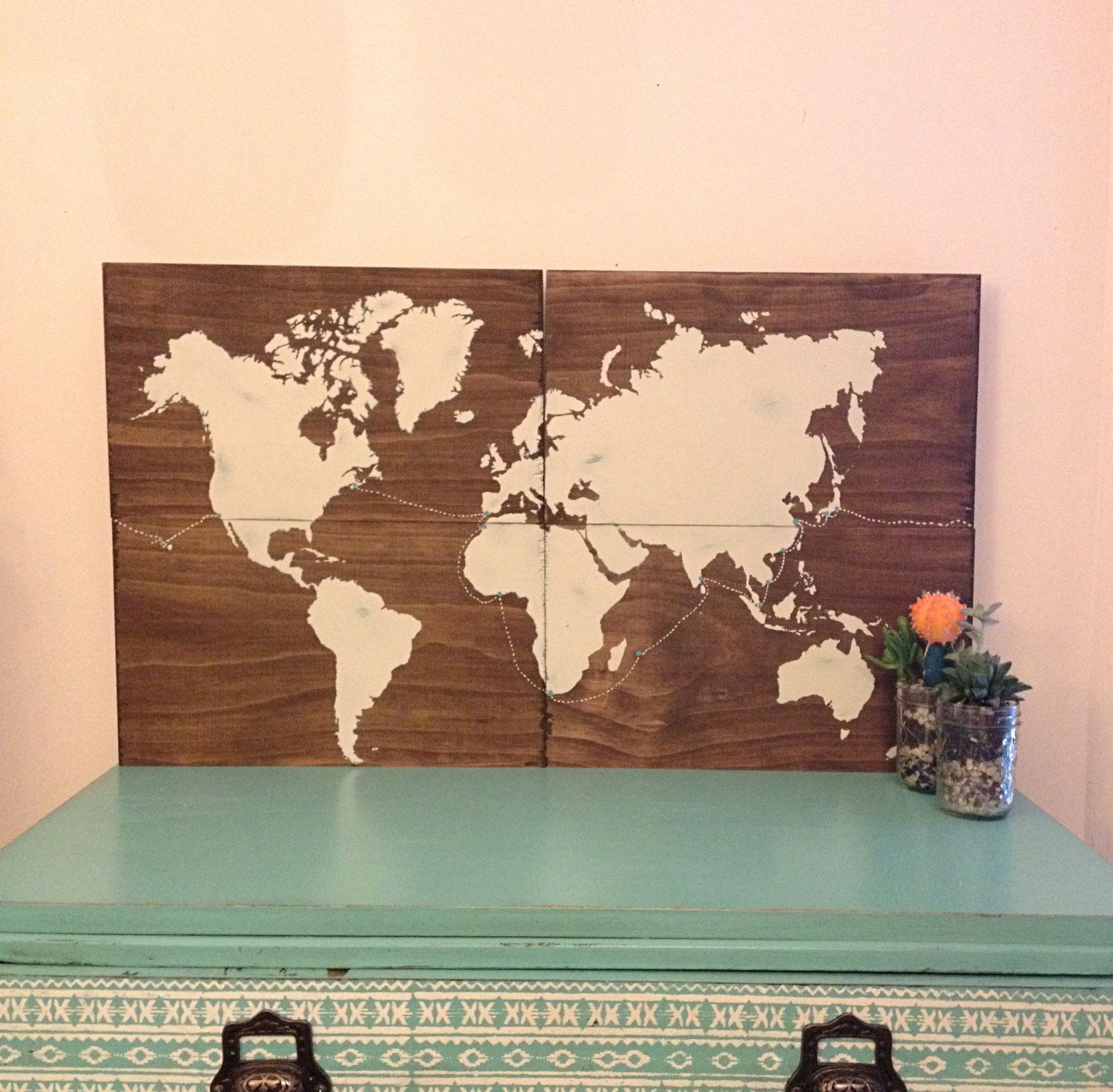 Large wooden travel map rustic wedding guestbook world map rustic items similar to large wooden travel map world map rustic map art travel decor painted world map push pins rustic wedding wedding decor on etsy gumiabroncs Gallery