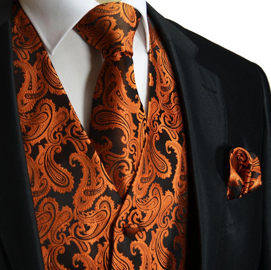 MEN/'S BLACK PAISLEY FORMAL DRESS TUXEDO VEST PROM WEDDING