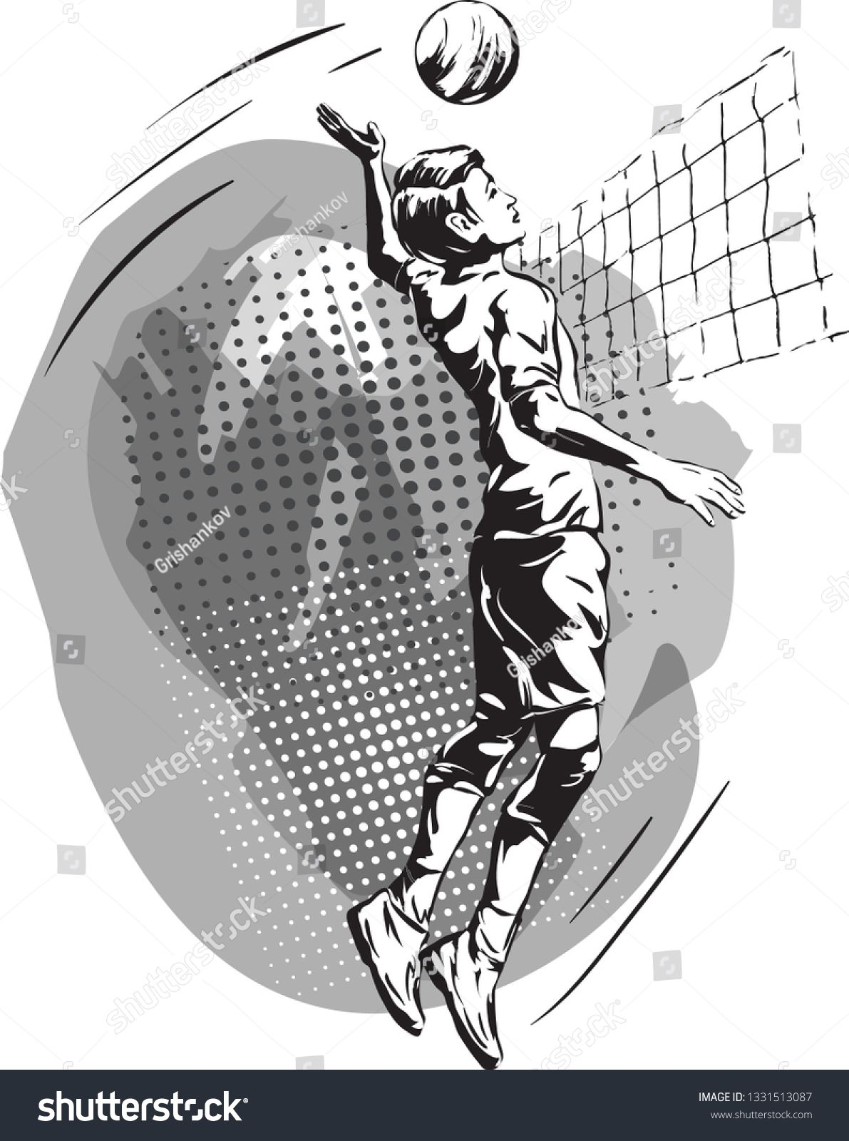 Black And White Image Of A Young Man Playing Volleyball Vector Drawing By Hand Ad Ad Young Man Image Black Man Images Vector Drawing White Image