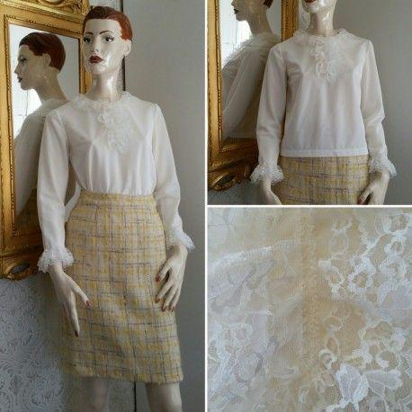Vintage vit långarmad syntetblus med krås och spetsmanchetter 50-tal 60-tal 924358c3cf00d