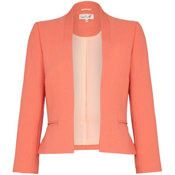 Damsel in a dress Myriad Jacket , Orange ($98) ❤ liked on Polyvore featuring outerwear, jackets, blazers, dresses, orange, damsel in a dress, orange blazer, red blazer, short blazer and short jacket