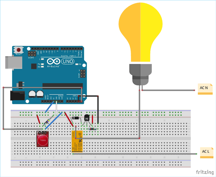Control Home Lights With Touch Using Ttp223 Touch Sensor And Arduino Uno Arduino Sensor Arduino Projects