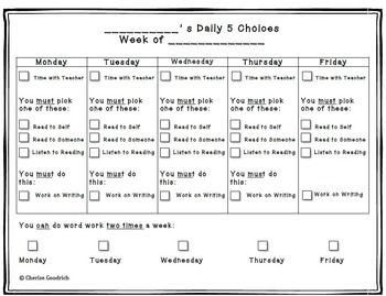 DAILY 5 STUDENT CHECKLIST - TeachersPayTeachers.com