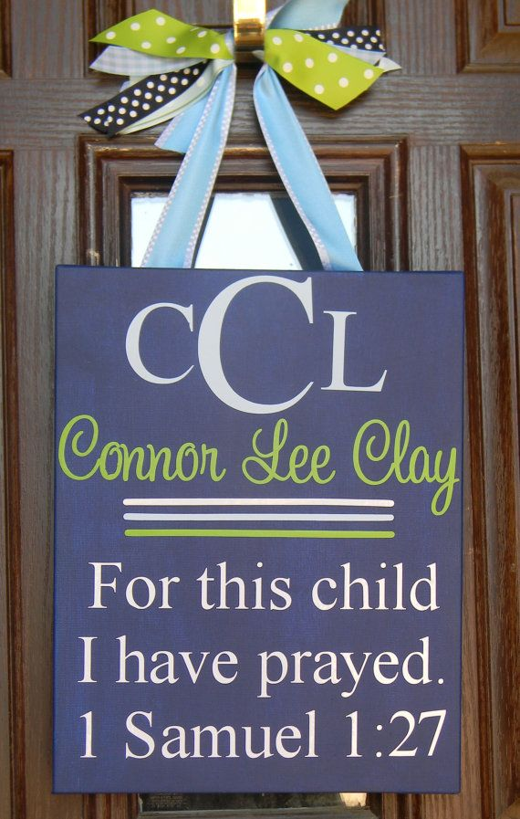 Great baby shower gift! So sweet to hang on front door for new baby arrival or in nursery!