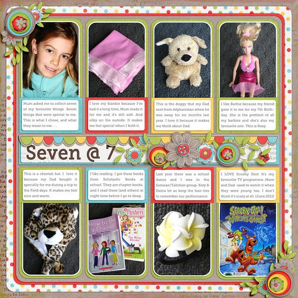 A layout featuring a child's favorite things at each birthday.