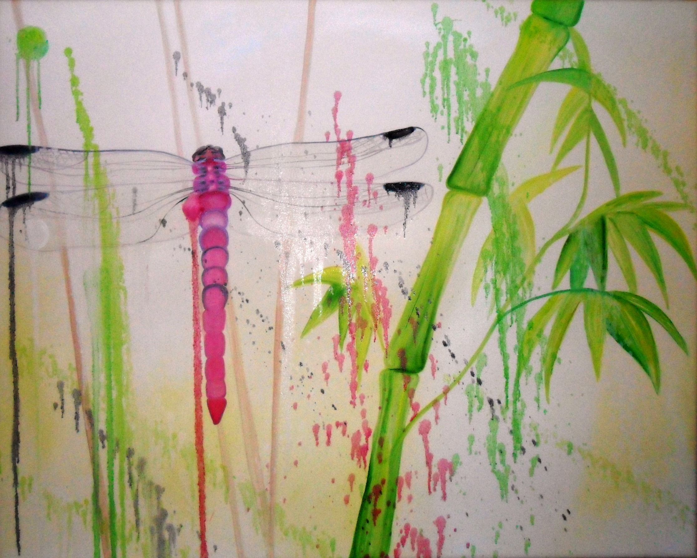 Dragonfly Painting  Oil In Canvas  By Lari Namaste