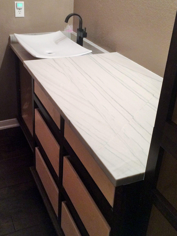 White Macaubus Quartzite Perfect Bathroom Countertops Remodel - Bathroom countertops san antonio