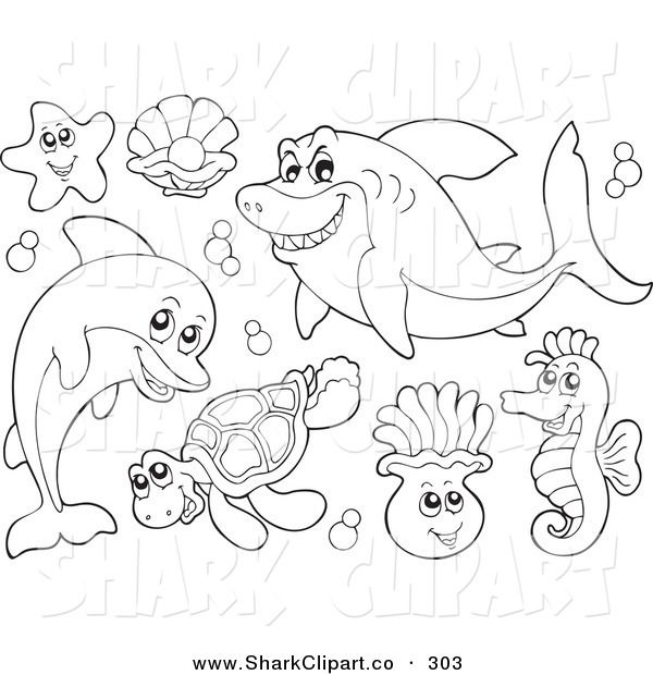 Awesome Art Of Digital Collage Coloring Page Outlines Sea Creatures Best Quality Http Www Colorin Animal Coloring Pages Ocean Coloring Pages Coloring Pages