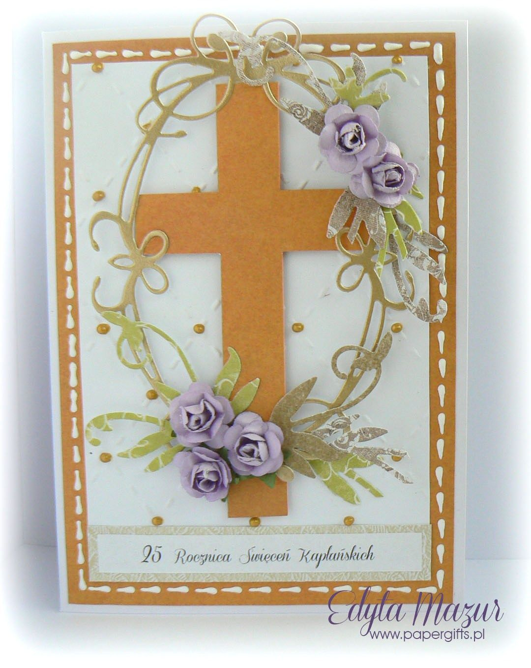 White Orange With Purple Roses Anniversary Card Of Priestly