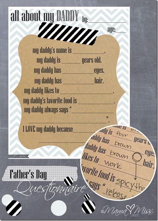 Father's Day Questionnaire #fathersday #freeprintable