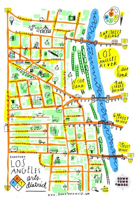 This La Arts District Map Is So Cute It Could Be A Poster Illustrated Map Map Arts District