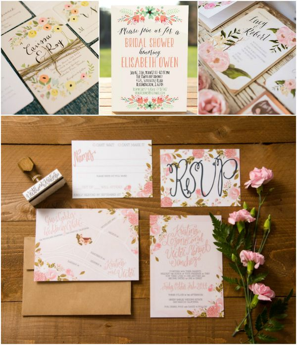 2016 Boho Chic Hochzeit Einladungskarten Mit Printed Kleinen Blumen Und Rose