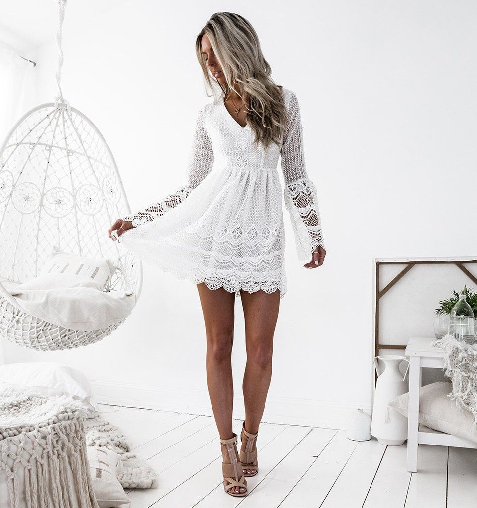 Royelle Lace Dress White Homecoming Dresses Simple Homecoming Dresses Long Sleeve Homecoming Dresses [ 1024 x 963 Pixel ]