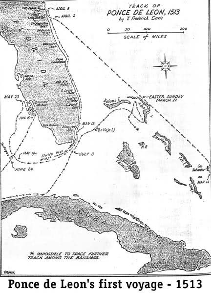 Ponce De Leon S First Voyage To Florida Genealogy Map
