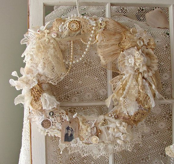 20 shabby chic christmas wreaths kr nze shabby chic. Black Bedroom Furniture Sets. Home Design Ideas