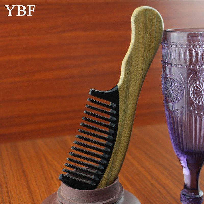 YBF Detangling Makeup Hair Hairdressing Tool Ox Horn Green sandalwood Wooden Handle Combs Head Scalp Massager Hairbrushes brosse