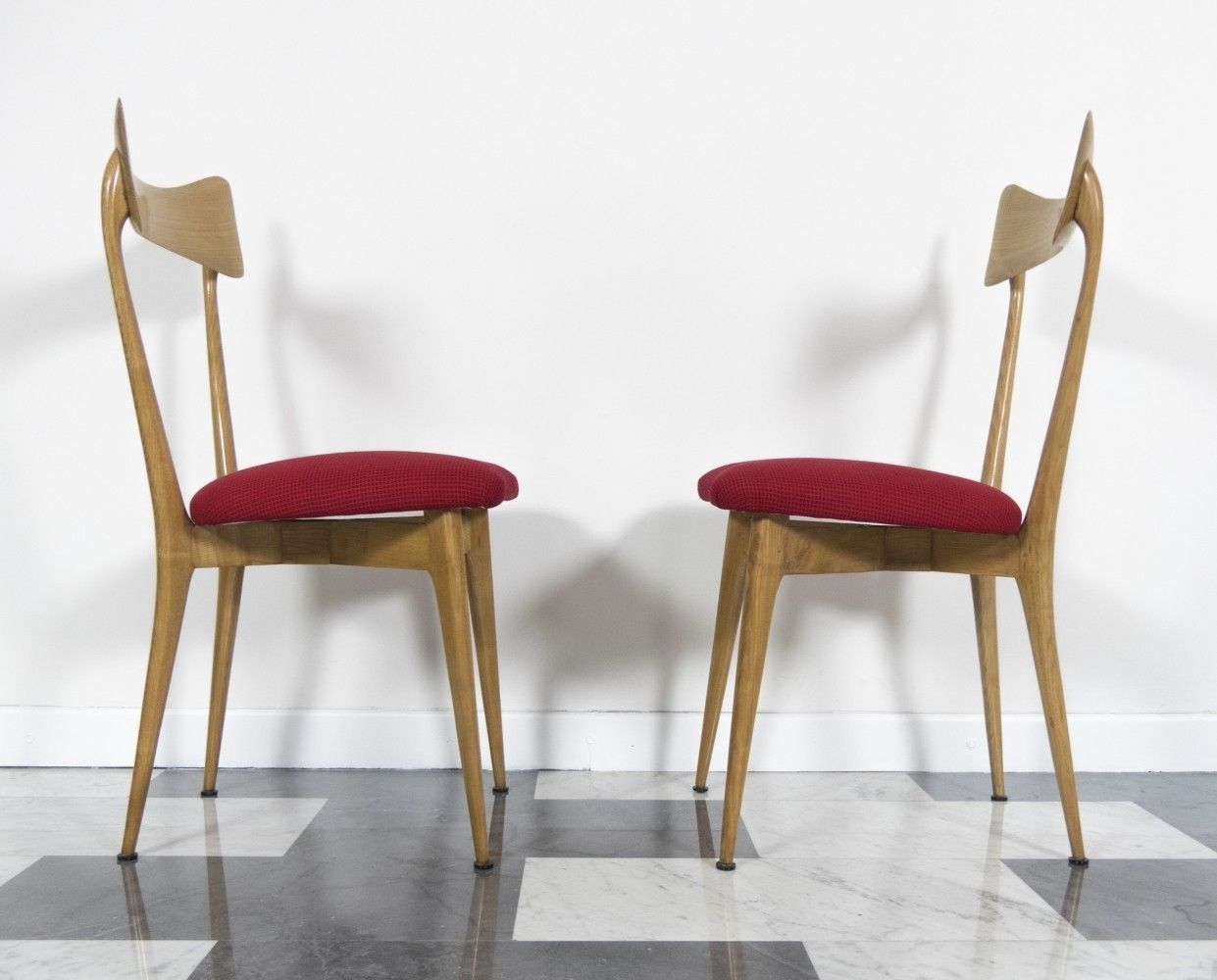 Anni 70 Arredamento set of 2 beech chairs by ico & luisa parisi, 1947