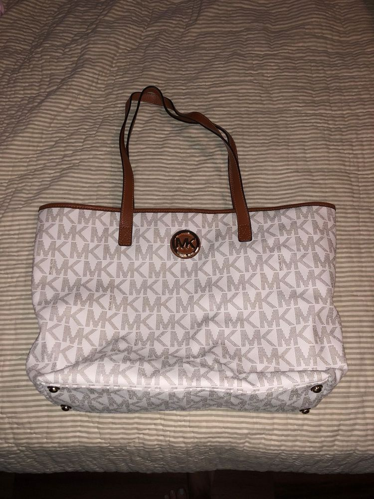 michael kors tote brown white good condition see more michael rh in pinterest com