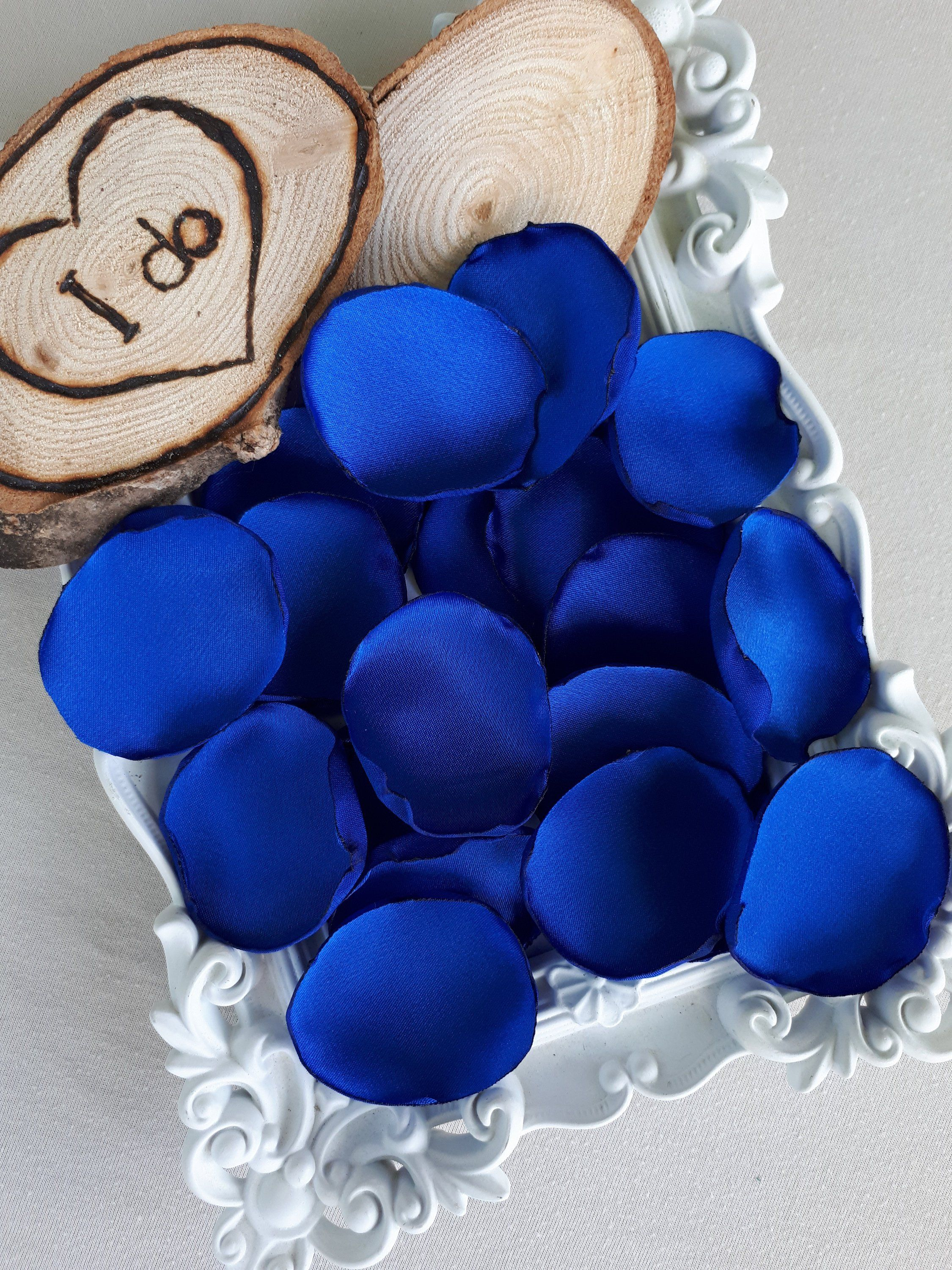 Wedding decorations royal blue  Royal Blue Handmade Satin Petals Royal Blue Wedding Blue Table Decor