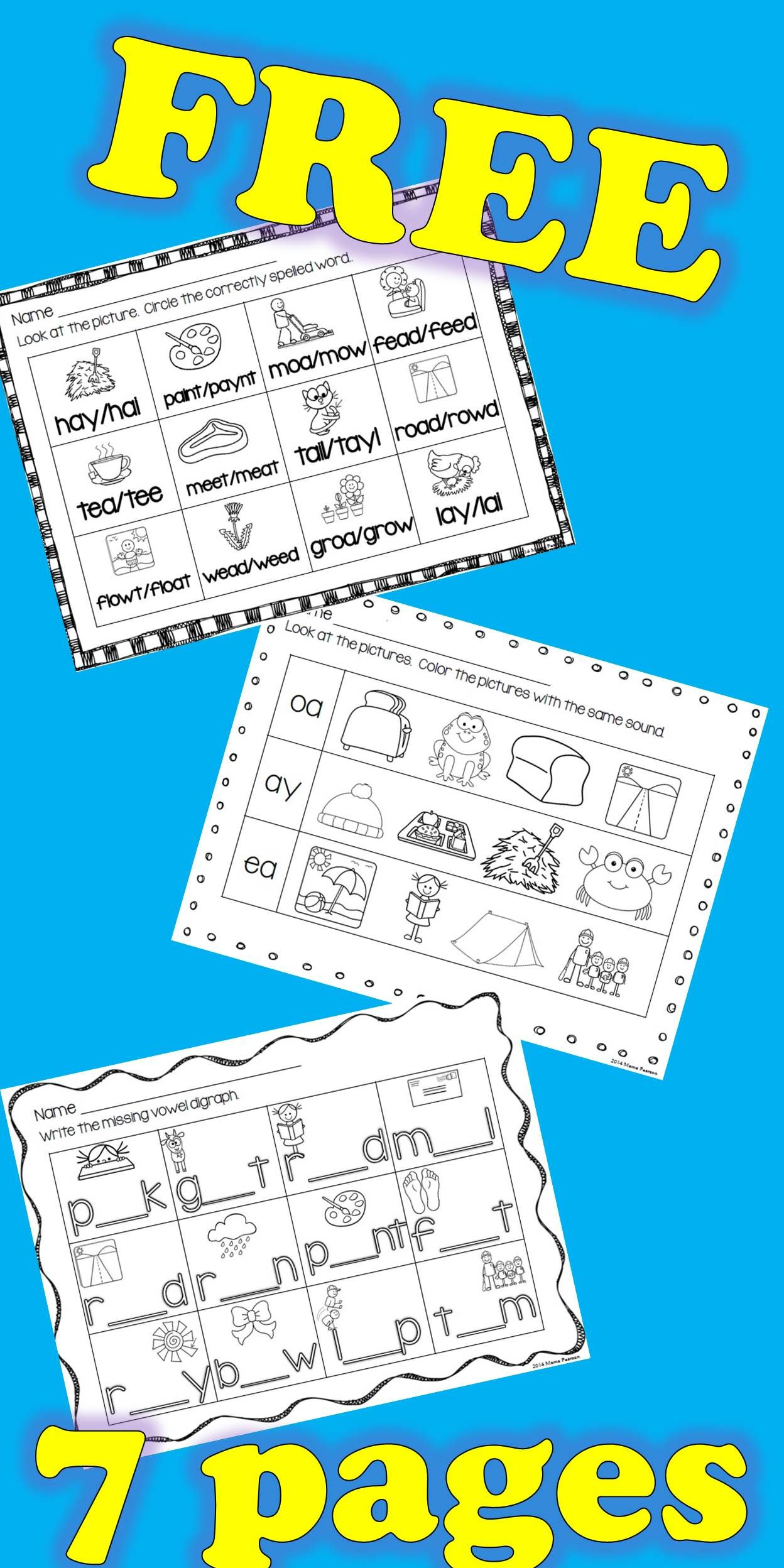 Free No Prep Vowel Digraphs Printables