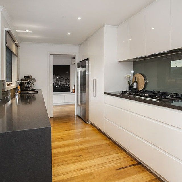Sleek classic kitchen in Mulgrave in white 2pac with standard finger - new blueprint design mulgrave