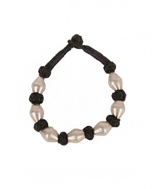 Black Knitted Bracelet with Silver Beads