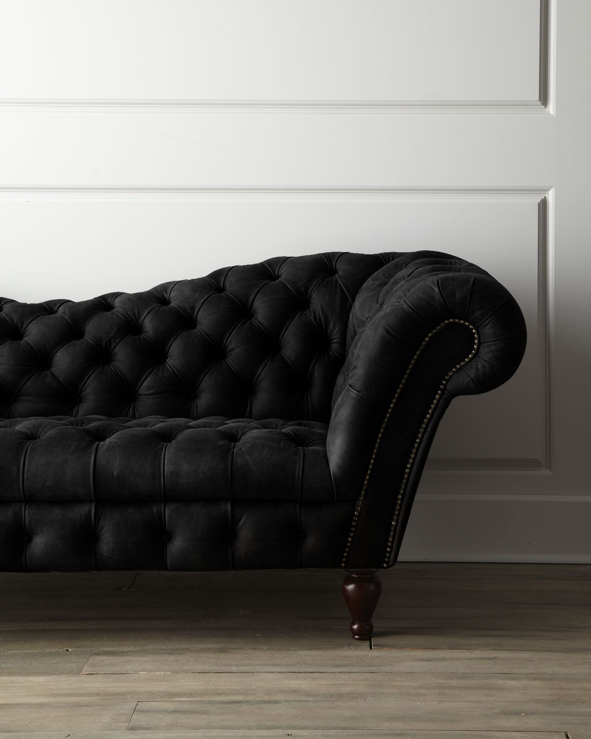 Black leather recamier sofa neiman marcus beauty edgy blackwell008