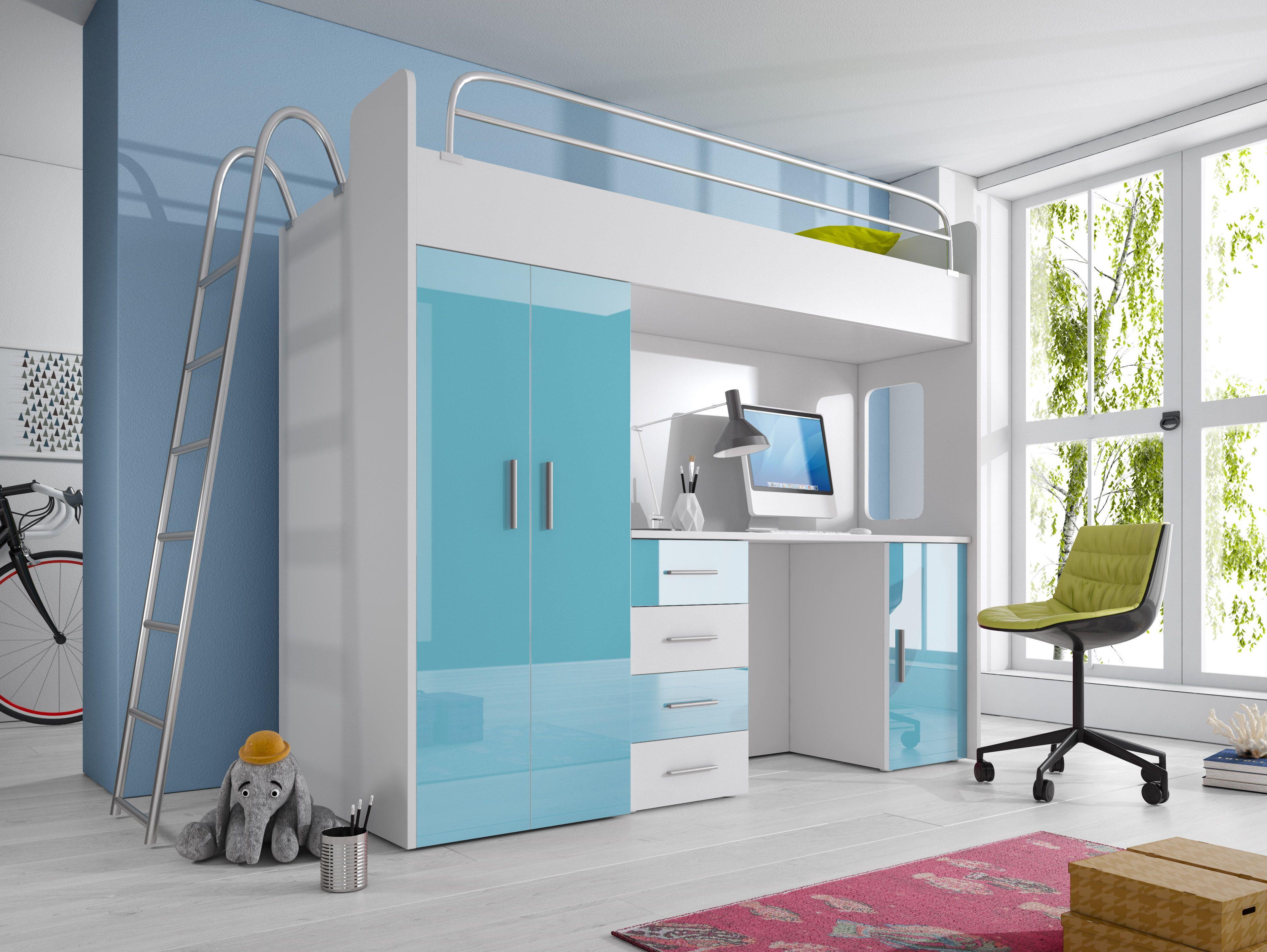 Etagenbett Liegefläche 80 180 : Paradise hochbett 4d azurblau 80x200cm pinterest hochbetten