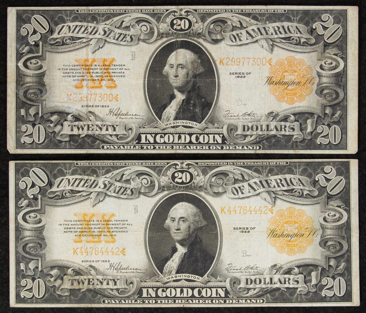 Lot 16 1922 20 gold certificates vgf january 2017 auction lot 16 1922 20 gold certificates vgf 1betcityfo Gallery