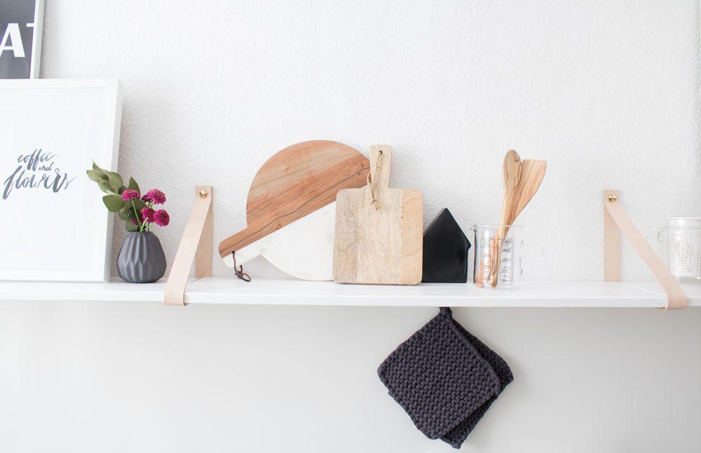 DIY Pinterest Leather strap shelves, Kitchen shelves and Diy - küchenregal selber bauen