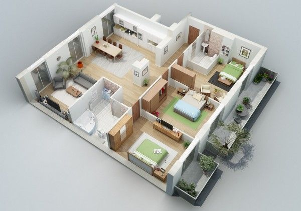 Awesome 3d Plans For Apartments Bedroom House Plans Apartment