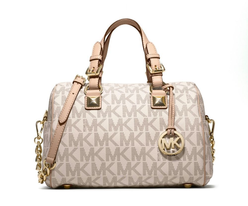 acc3dc1533c8 NWT MICHAEL KORS Grayson Medium Chain Satchel Gray White MK Logo Hand Bag  Purse #MichaelKors #Satchel