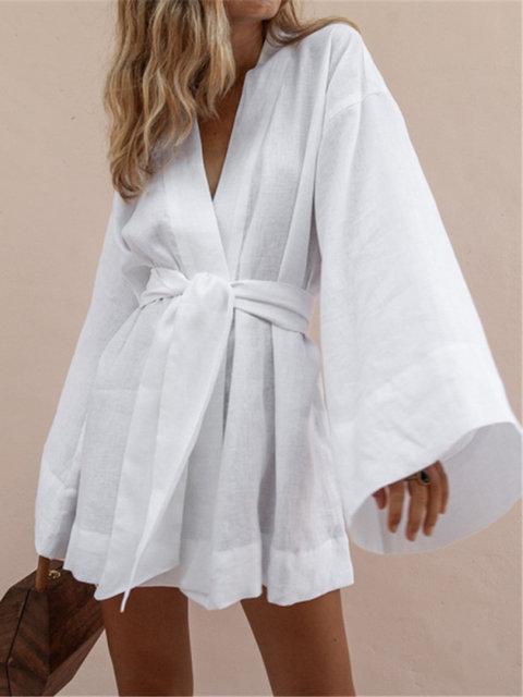 Photo of Shop Linen Dresses – White Bell Sleeve Cotton Linen Dresses online. Discover uni…