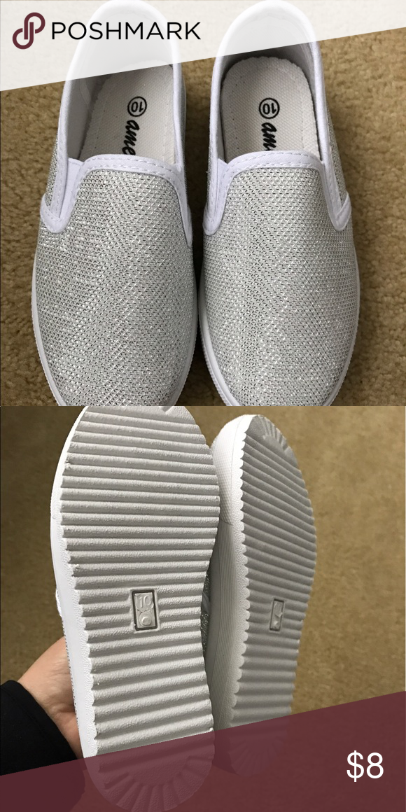 KIDS! Brand new white and silver sparkly shoes. Made by Ameta- size 10. Very small platform. White and sparkle shoes. NEVER worn! Shoes Sneakers