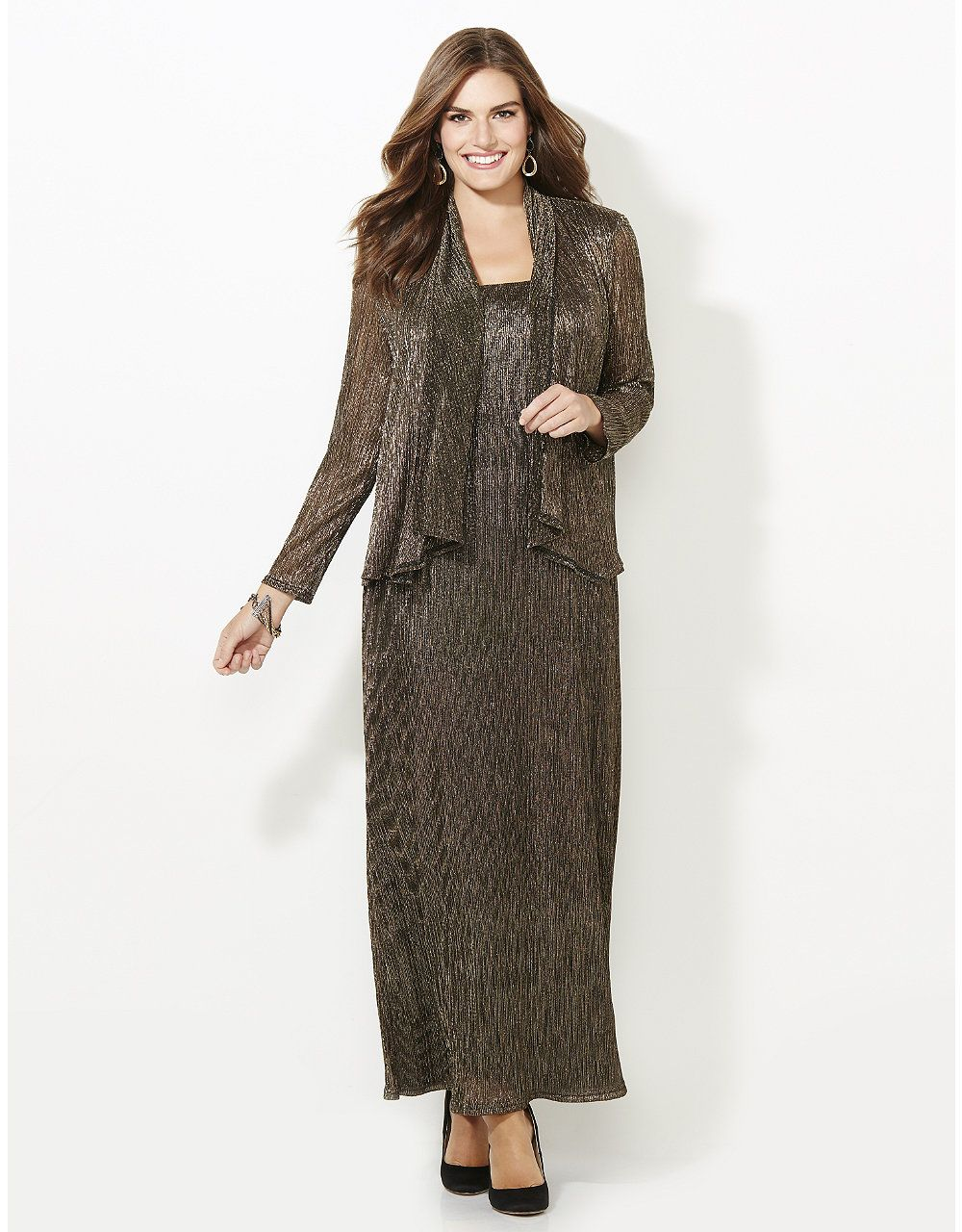 Beaded jacket dress plus size