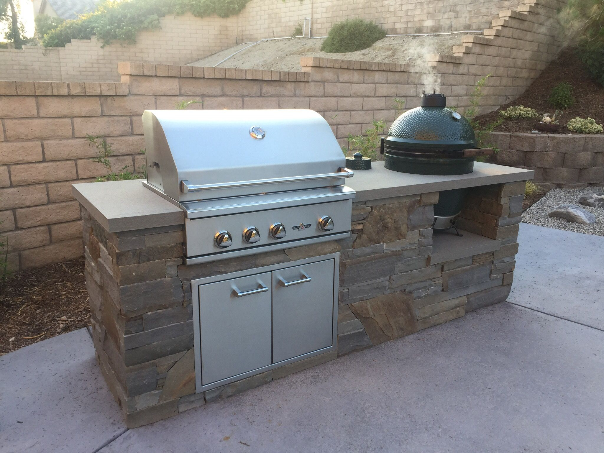 bbq island with big green egg and delta heat grill bbq island big green egg outdoor kitchen on outdoor kitchen island id=35780
