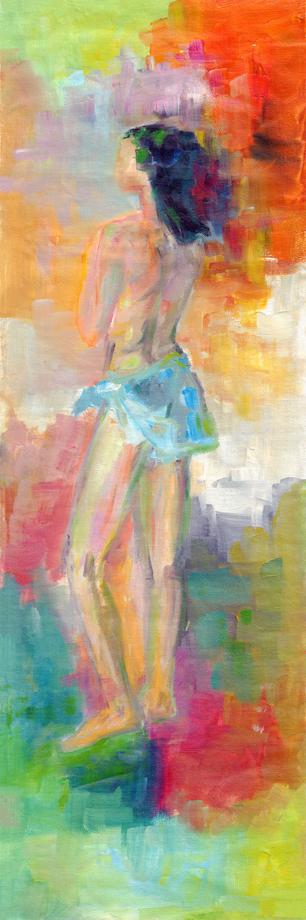 """Nostalgia"" figurative Oil Painting on Canvas. 20x60 cm."